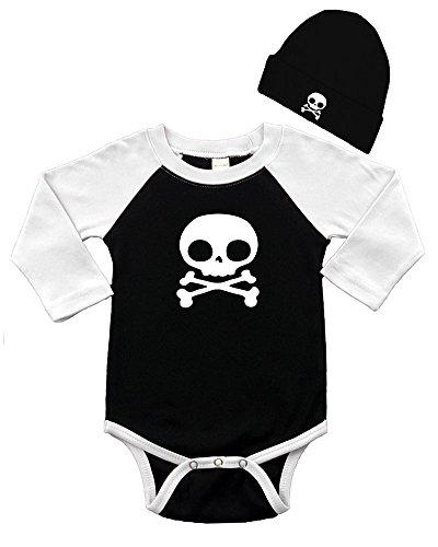 Long Sleeve Raglan and Cap Set - Skull 3-6M Black/White -