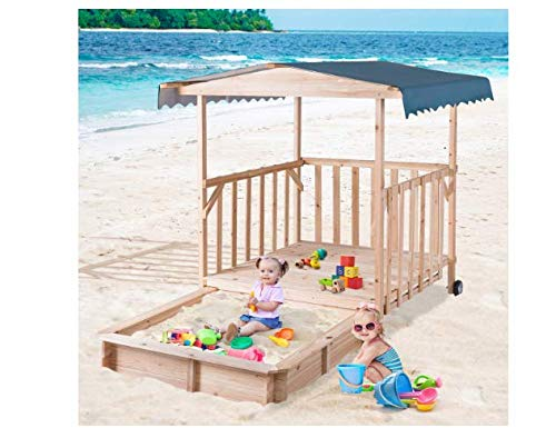 Retractable Sandbox Rolling Playhouse with Canopy for Children - Very Sturdy and Strong Children Outdoor Backyard Toy – Solid Construction Wood Frame Play Area with Roof for Sunlight and Rain Protect
