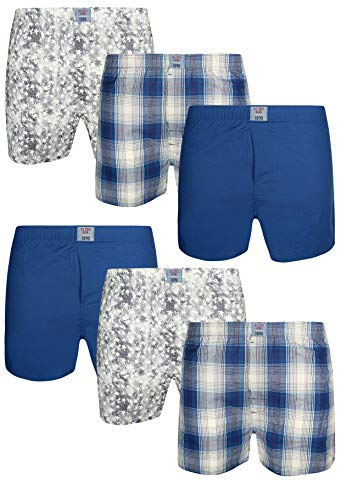 U.S. Polo Assn. Men\'s Multipack Cotton Woven Boxers with Functional Fly (6 Pack), Plaid/Blue/Blue Print, Size Small'