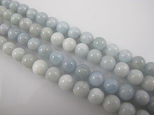 Aquamarine Natural Gemstone Beads AB Grand 8mm Round Blue/white Color pcs 16''per Strand