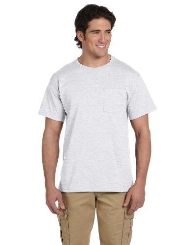 JERZEES Mens Heavy Blend Cotton/Poly Pocket T-Shirt, XL, Ash