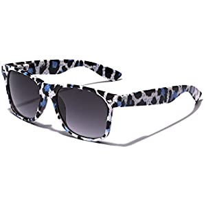Children Colorful Animal Print Wayfarer Sunglasses Age 6-14 - White & Blue