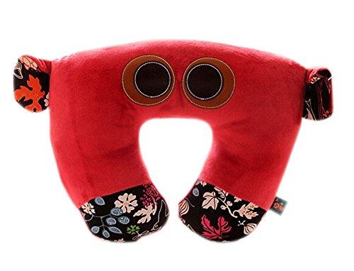 PANDA SUPERSTORE Cartoon Pillow Nursing Pillow Airplane Travel Pillow/U-Shaped Pillow/Red Bear