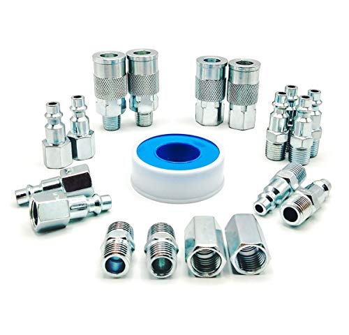 YOTOO Heavy Duty Steel Air Hose Fittings Kit, 19-Piece Air Compressor Accessories Fittings with 1/4 inch Industrial Air Quick Couplers, Plugs and Pipe Fittings