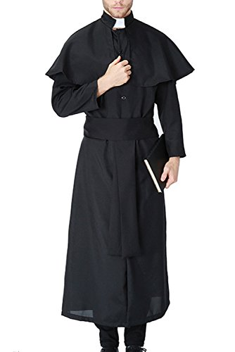 Cassock Priest Costume (Vantina Men's Priest Black Long Robe Halloween Adult Costume Black1)