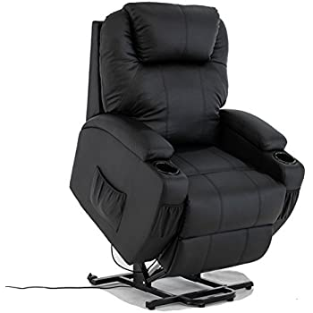 Power Lift Real Leather Recliner chair Wall Hugger Lounge Seat Black  sc 1 st  Amazon.com : recliners with lift - islam-shia.org