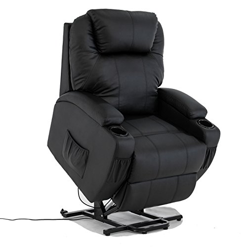 Power Lift Real Leather Recliner Chair Wall Hugger Lounge Seat ,Black