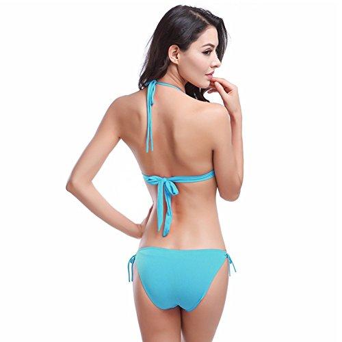 UDreamTime 11 colores de las Femenino del bikiní del traje de baño ropa de playa Azul