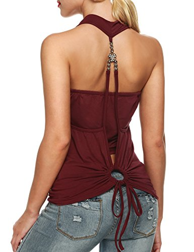 Zeagoo Women's Faux Crystal Twinset Tank Top Blouse, Large, Wine Red
