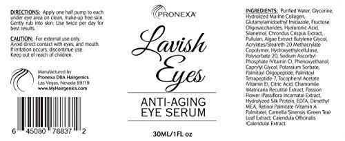 41dTkaQDFHL - Pronexa Hairgenics Lavish Eyes: Anti-Aging UnderEye Gel Serum to Reduce the Appearance of Dark Circles, Puffiness, Bags, Wrinkles, Fine Lines & Crows Feet Around Eyes. 1.0 FL OZ.