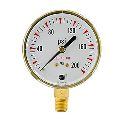 """2-1/2"""" x 200 PSI Welding Regulator Repair Replacement Gauge For Oxygen 2.5 inch"""