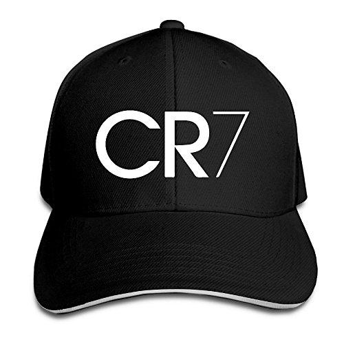Logo Sandwich (Runy Custom CR7 Logo Adjustable Sandwich Hunting Peak Hat & Cap Black)