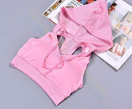 SGYHPL Sommer Frauen Gym Sport Weste Ärmelloses Shirt Fitness Laufbekleidung Tanktops Workout Yoga Unterhemden Quick Dry Tuniken L Kapuzen-BH Pink