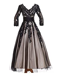 Sunvary Champagne and Black Tea Length Prom Evening Gowns for Mother of the Bride