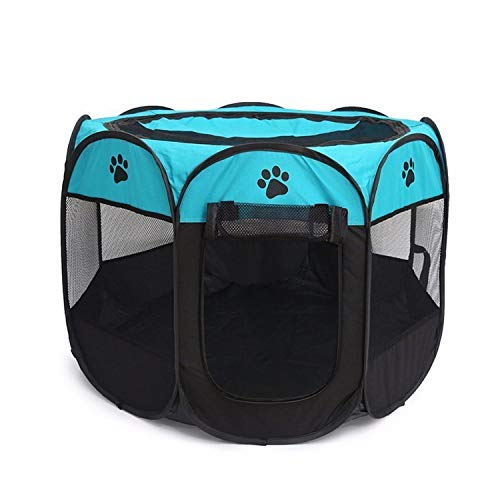 Folding Pet Carrier Tent Playpen Dog Cat Fence Cage Puppy Kennel Large Space Foldable Exercise Play Indoor Outdoor Two Sizes,Black Blue,72-72-45]()