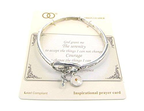 - Serenity Prayer Engraved Silver-Tone Stretch Bracelet w/Charms by Athena Brand