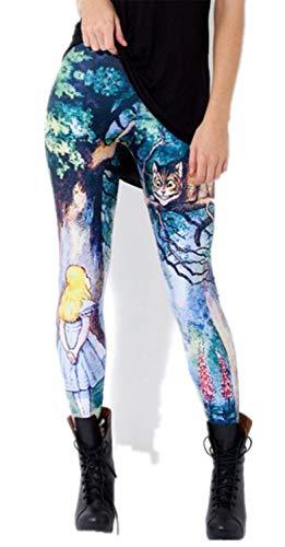 Tamskyt Women's Digital Print Women's Full-Length Yoga Workout Leggings Thin Capris Stretchy Ankle Leggings Tights (Cheshire Cat)