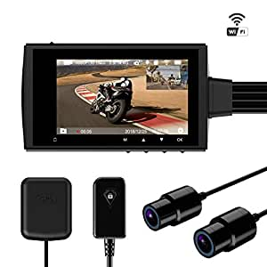 """Motorcycle Camera Driving Recorder Waterproof Dual Lens 1080P Dash Cam Dvr Sports Action Camera Video Rocording with 2.7"""" LCD Screen 155 Degree Angle WiFi & GPS Support 256G Max Motowolf M3"""