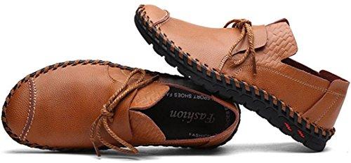 Ppxid Mens Style Britannique Travail À La Main Slip-on Casual / Chaussures En Cuir Daffaires Marron