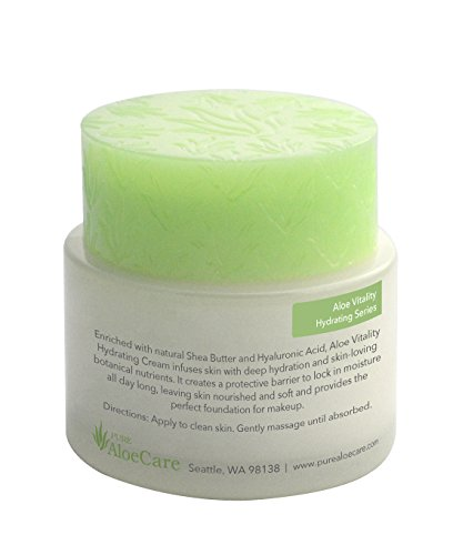 PURE AloeCare Organic Aloe Vera Vitality Hydrating Makeup Primer Cream, Offers Deep Hydration and Skin Loving Botanical Nutrients, Creates an All Day Barrier to Lock in Moisture 1.7 oz (50g)