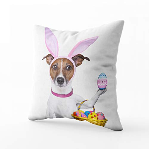 HerysTa Easter Home Decorative Cotton Pillowcase 18X18inch Invisible Zipper Cushion Cases Dog Dressed Up As Bunny Easter Basket Square Sofa Bed D¨¦cor]()