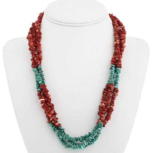 (Navajo Coral Turquoise Nugget Chip Necklace Three Strander)