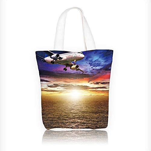 Ladies canvas tote bag Jet plane over the sea at sunset time Square composition reusable shopping bag zipper handbag Print Design W11xH11xD3 INCH