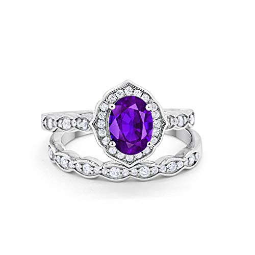 Blue Apple Co. Two Piece Art Deco Vintage Style Wedding Engagement Bridal Set Ring Band Oval Round Simulated Amethyst Cubic Zirconia 925 Sterling Silver Size-6