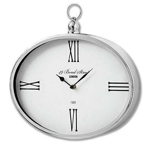 Metal Clock Bond (Hill Interiors Bond Street London Oval Wall Clock (One Size) (Silver))