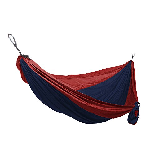 Grand Trunk Double Parachute Hammock | Compact Portable Nylon Two Toned Hammock with Carabiners and Hanging Kit - Navy/Red
