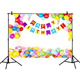 Allenjoy 8x6ft Photography backdrops Colorful Balloons Happy Birthday Party Decoration Banner for Children Kids Photo Studio Booth Background photocall