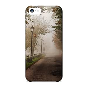 New Diy Design Misty Road Through The Park For Iphone 5c Cases Comfortable For Lovers And Friends For Christmas Gifts