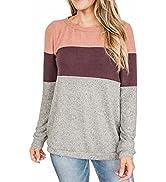 Lacozy Womens Color Block Long Sleeve Sweatshirt Casual Crewneck Pullover Loose Jumper Tops