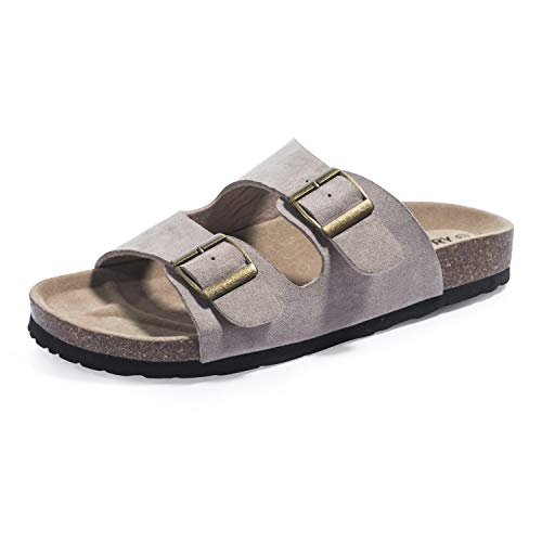 FITORY Womens Sandals Cork Footbed Leather Slides with Double Adjustabe Buckle Straps Khaki