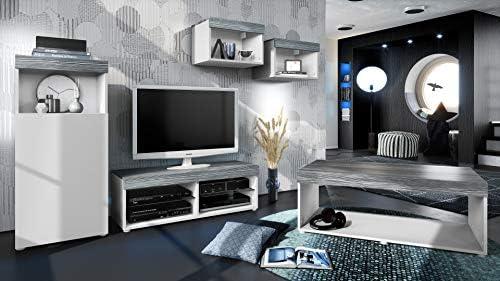 Conjunto de Muebles Pure para Sala de Estar   Mesa Baja, 2 estanterías, gabinete, Mesa   Cuerpo en Blanco Mate/Partes Superiores y Paneles en avola Antracita   Amplia selección de Colores: Vladon: