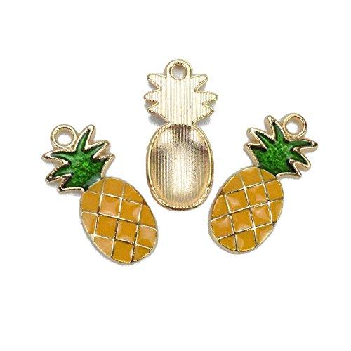 Antique Brass Drop Oil Alloy Pendants - Pineapple - 24mmx11mm - 5 PCS (JP136) - 11mm Drop Pendant