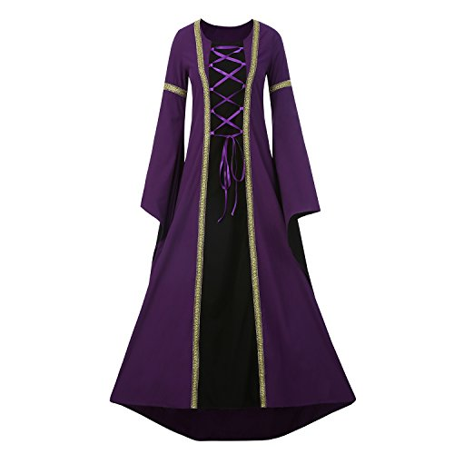 Purple Masquerade Dresses (Seraih Medieval Costume Renaissance Women Evening Dresses Medieval Noble Costumes Masquerade Party Ball Gown (M, Purple))