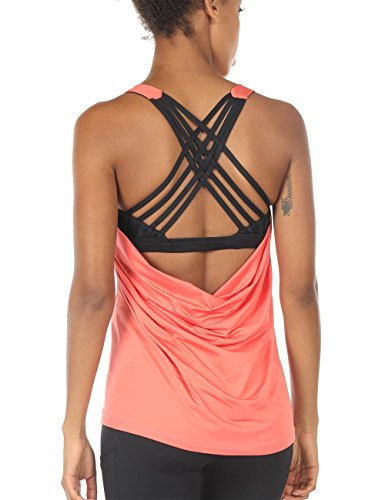 icyzone Yoga Tops Workouts Clothes Activewear Built in Bra Tank Tops for Women (M, Fusion Coral)