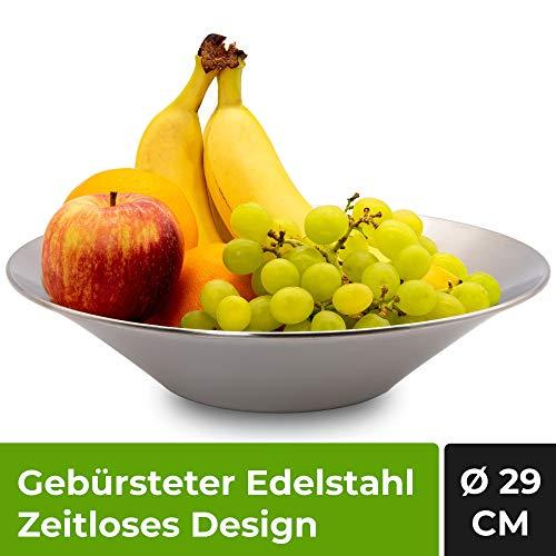 Frutero Acero Inoxidable de 29 cm de diametro - Fruteros de Cocina Modernos y Decorativos, Ideal para Fruta o como Centro de Mesa Decorativo