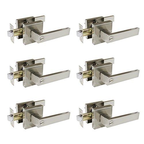 6 Pack Probrico Square Door Lever Privacy Door Lock Handleset Keyless Lockset Door Knobs Storage Room Bathroom Set No Key in Satin Nickel