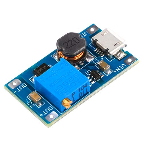 DC Boost Converter, Yeeco 1A DC to DC Step Up Converter Board 2-24V 5V 9V to 5-28V 12V 20V Voltage Regulator Booster Module Adjustable Voltage Step Up Power Supply Module