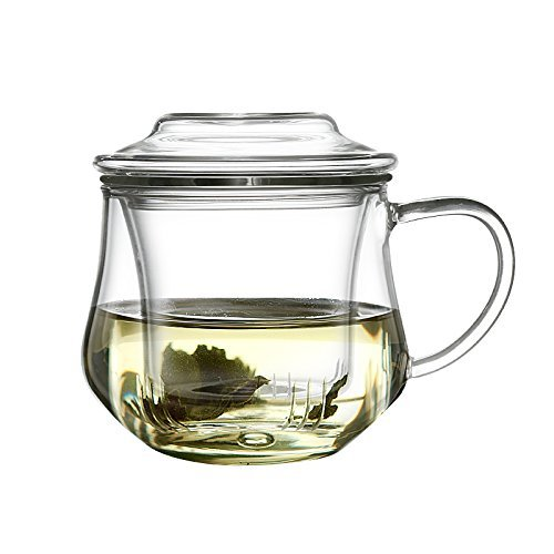 Zen Room All Glass Made Tea Infuser & Mug Teapot 12oz Ultra-Clear Borosilicate Glass with Glass Lid and Glass Infuser Heat Resistant and Easy to Clean