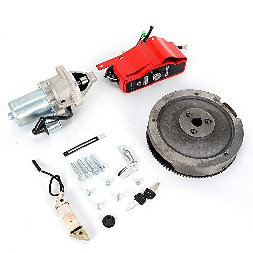 Electric Start Kit Flywheel Starter Motor with Solenoid Key Switch Charging  Coil Mounting Bolts for Honda GX390 13HP GX340 11HP