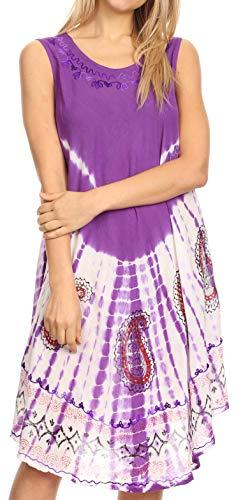 - Sakkas 18152 - Violeta Women's Tie Dye Paisley Caftan Midi Sleeveless Tank Dress Cover Up - Purple - OS