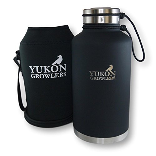 NEW IMPROVED Vacuum-Insulated Stainless Steel Growler - 64 oz - Keep Your Beer Cold and Carbonated for 24 Hours - Double-Walled Water Bottle with Neoprene Case by Yukon Growlers