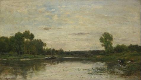 Oil Painting 'Charles-Franois Daubigny - View On The Oise,1873' Printing On Perfect Effect Canvas , 10x18 Inch / 25x45 Cm ,the Best Foyer Decoration And Home Gallery Art And Gifts Is This Vivid Art Decorative Prints On (Sandy The Squirrel Costume)