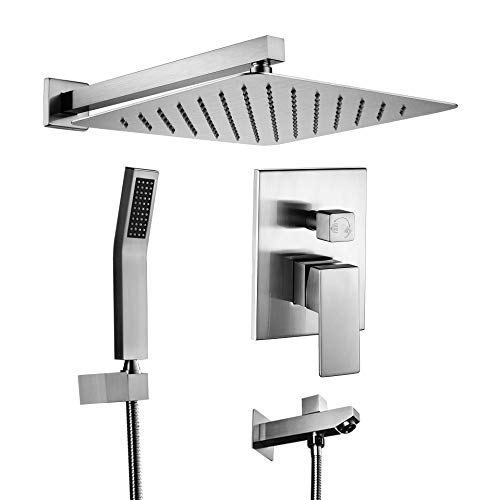 Acefy Shower System, Shower Faucet Set with Tub Spout Brushed Nickel, 12 Inch Rainfall Showerhead and Hand Set Included, Contain Rough In Valve Body Complete All Metal Shower System