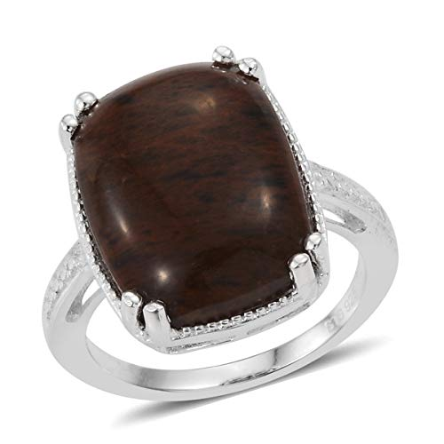 925 Sterling Silver Cushion Coffee Obsidian Statement Ring for Women Jewelry Gift Size 8