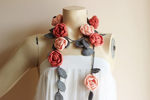 Coral and Grey Necklace-Summer Necklace-Salmon Coral and Grey Necklace-Rose Lariat Scarf-Rose Necklace