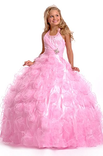 GreenBloom Flower Girls' Wedding Ball Gowns Crystals Princess Pageant Dress Pink 6